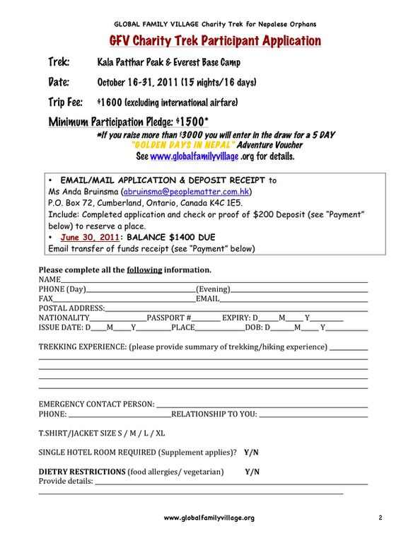 Attached are the Trek Application and Sponsor Sheet.