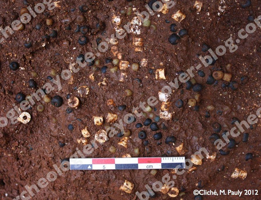 Découverte exceptionnelle de 2780 perles africaines et indo-pacifiques lors du sondage archéologique à Acoua, lieu-dit, Antsiraka Boira (septembre-décembre 2012).
