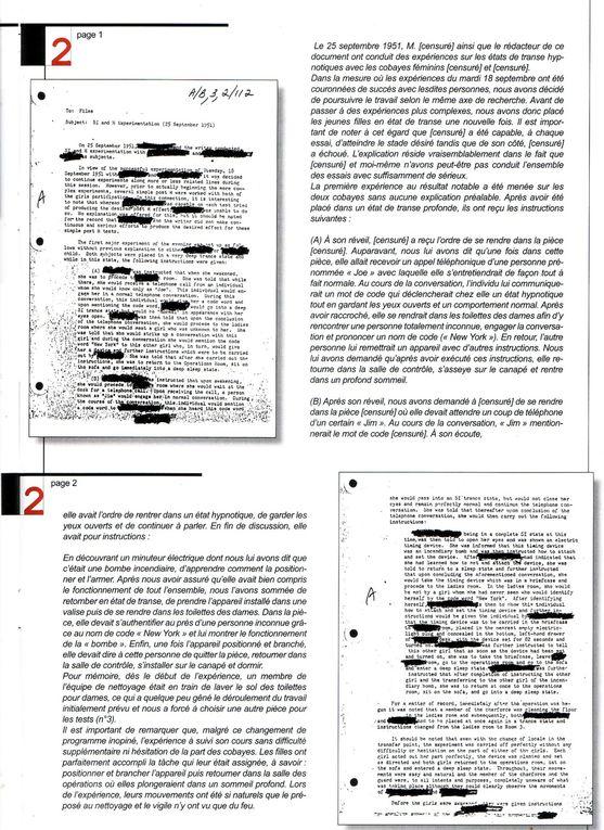 Dossiers déclassifiés du programme MK ultra