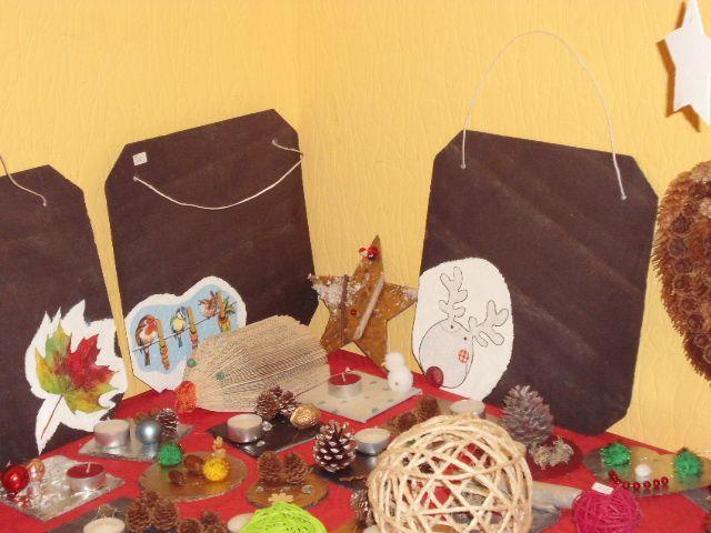 Décorations réalisées par les enfants avec Françoise et Stéphanie