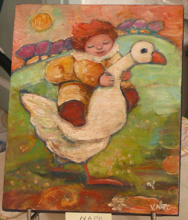 Quelques oeuvres des artistes ayant participé aux expositions du Colimaçon Bleu.