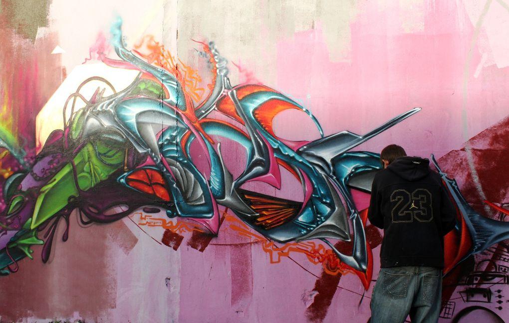 Journée Graff sur l'invitation des Anartchik avec Brin d'Amour, Shupa, Dey, Elfa, 7-Up(rip), Intox, Euphoria, Neok, Trash, Dja'louz, Amour, Utiler, Djuk, Tisso, Agil, Raph, Trash...