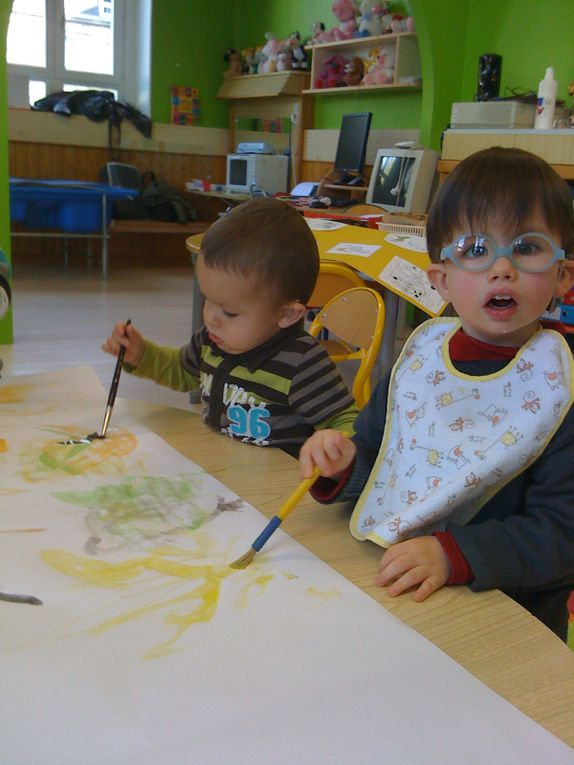 Le livre des animaux et les photos de l'activité peinture de la classe de TPSM.