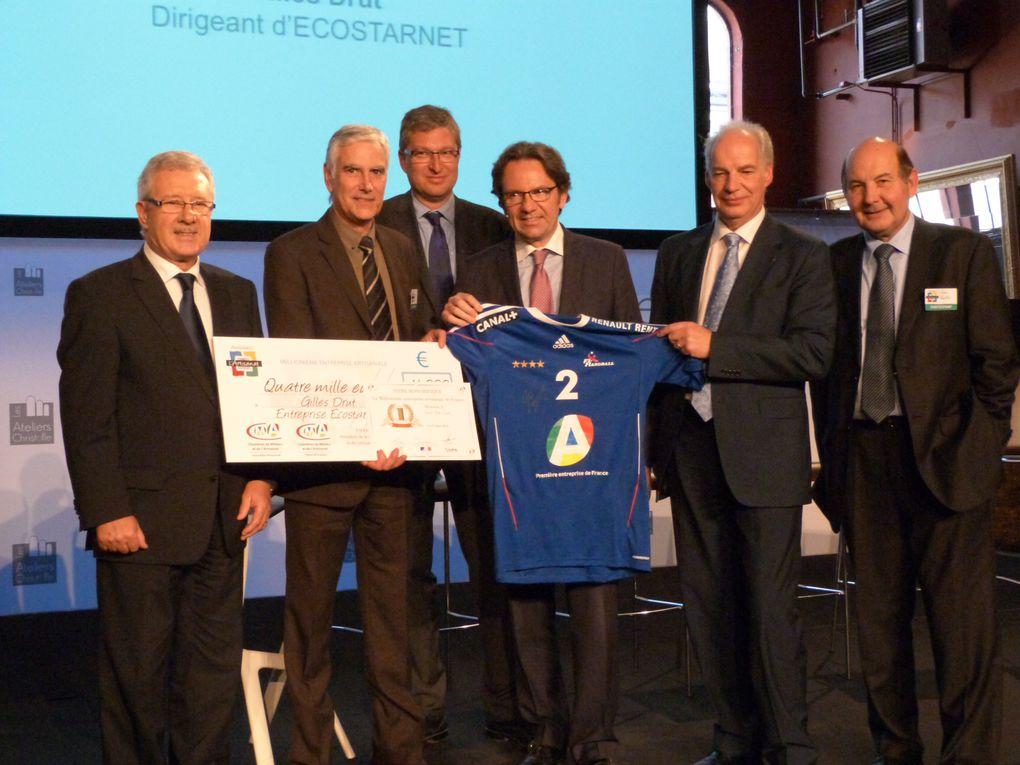 Quelques photos de la cérémonie honorant le pressing ECOSTZRNET en présence du secrétaire d'état Frédéric Lebevre