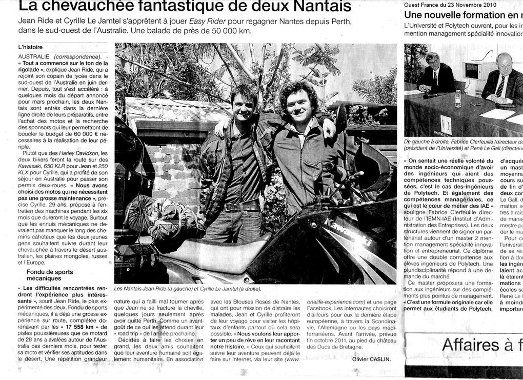 Articles de Presse Motos Journal, Ouest France, Canberra Times...