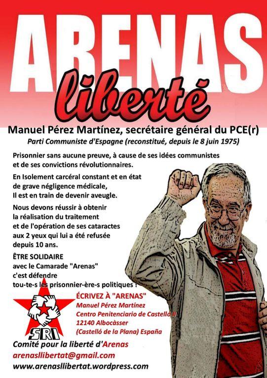 """Manuel PEREZ MARTINEZ """"Arenas"""" est le seul Communiste détenu en Europe depuis DIMITROV pour ses idées politiques. Il est le Secrétaire Général du PCE(r)-Parti Communiste d'Espagne (reconstitué) depuis le 8 juin 1976."""