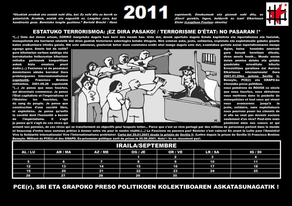 (FR et EH)Calendrier informatif sur le Collectif des presxs politiques Communistes, Antifascistes et Solidaires du PCE(r), des GRAPO et du SRI.