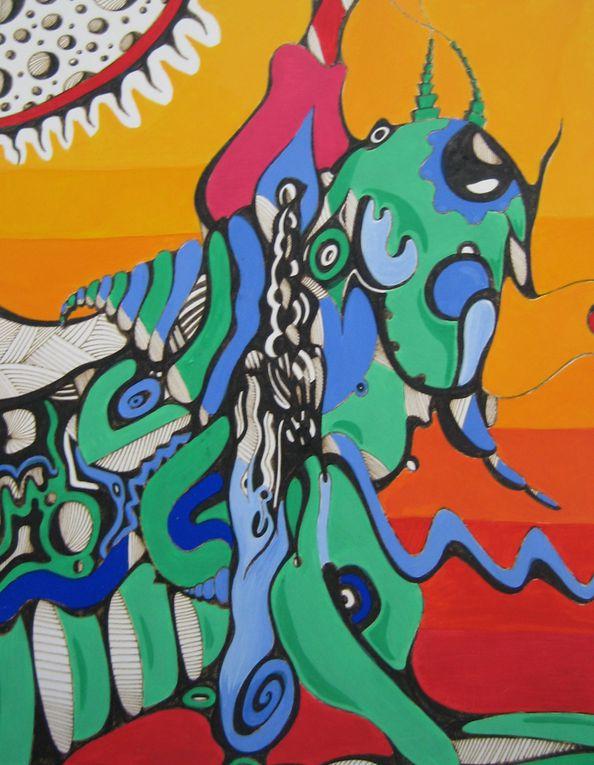 peintures acryliques sur toile ou papier