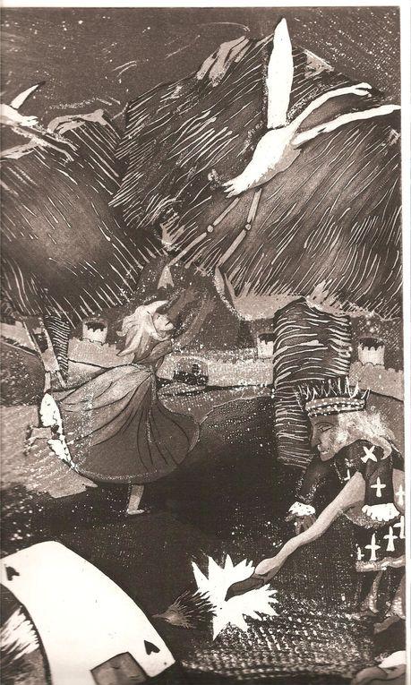 Ce texte de Lewis Caroll m'a inspiré ces images et je les ai gravées ...ici : technique de l'aquatinte
