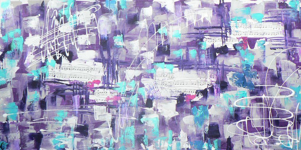 Peintures au couteau autour de partitions de musique