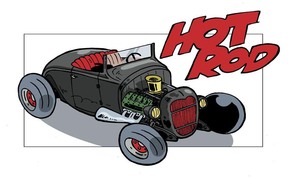 """Un petit porte-folio de quelques dessins de voitures : des Rods, bien sûr, mais aussi quelques """"Muscles""""."""