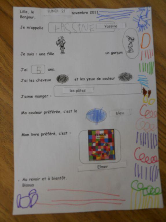 Voici les lettres individuelles des enfants de Nathalie