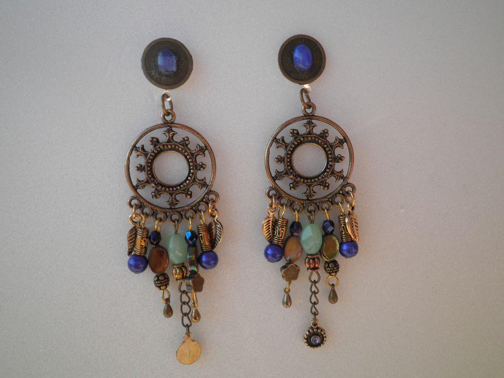 boucles d'oreilles métal argenté et sequins en nacre