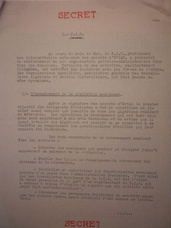 Documents secrets sur les Harkis,dossiers,consignes du FLN... Parti communiste Francais.