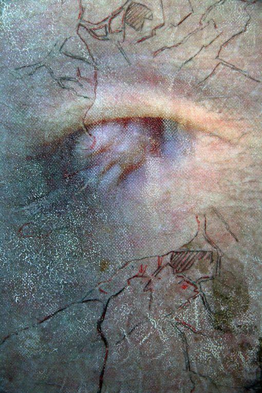 Encre, dessin et transfert photo sur toile.Série de neuf formats 8F.2007
