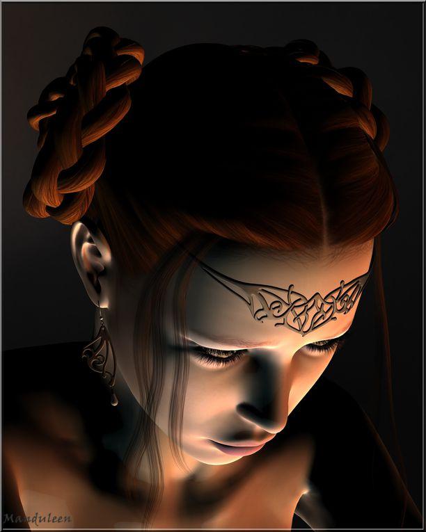Déclinaison de lumières et de d'expressions autour d'un même personnage. Dans l'ordre des rendus.Ou comment une grande tristesse peut se muer en colère...