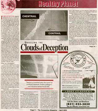 Articles de presse concernant le phénomène des Chemtrails.