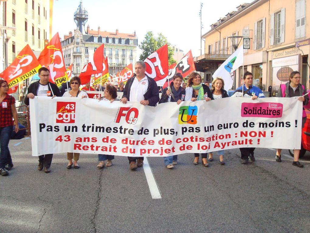 Le 10 septembre: 1700 manifestants au Puy en Velay pour le retrait du projet de loi Ayrault, contre l'allongement de la durée de cotisation.