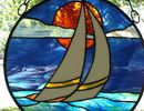 sailboat stained gla