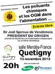 Conférence de Dr Joel Spiroux, Président du CRIIGEN: les polluants chmiques et les OGM dans l'alimentation
