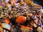 Mijoté de potimarron, tomates, oignons et lentilles vertes