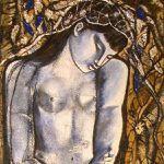 Huile sur bois et inclusions '' Autoportrait Timide '' 185x70Cm