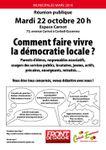 Réunion Mardi 22 octobre Faire vivre la démocratie