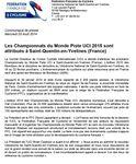 Les Championnats du Monde sur piste UCI 2015 auront lieu au vélodrôme de Saint Quentin en Yvelines en février ( Du 18 au 22 Février 2015)