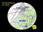 Parcours 10 km trail des Monts de Gy 2017