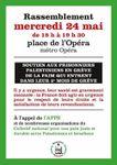 AFPS.org : Rassemblement mercredi 24 mai de 18h à 19h30 place de l'Opéra métro Opéra - en soutien aux Prisonniers politiques Palestiniens en grève de la faim