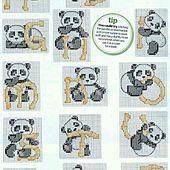 ♥Meus Gráficos De Ponto Cruz♥: Pandas e Alfabetos em Ponto Cruz
