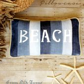 Beach Pillow from Old Jeans and Troubles of the Heart