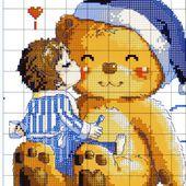 ♥Meus Gráficos De Ponto Cruz♥: Ursinho e Ursinha em Ponto Cruz para Crianças