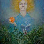 """"""" La fillette à l'orange """", huile sur papier huilé, 27x33cm (illustration libre du roman """" Ronce-Rose """" d'Éric Chevillard, paru aux Éditions de Minuit)"""