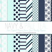 Free Digital Paper: Navy and Pale Teal