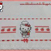 Delicado Cantinho: Panos de Prato + Toalha Fogão Hello Kitty