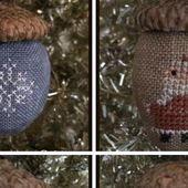 Christmas Cross Stitched Acorn Ornaments