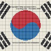 Grille gratuite point de croix : Drapeau Corée du Sud - Le blog de Isabelle