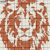 Grille gratuite point de croix : Lion portrait monochrome 1 - Le blog de Isabelle