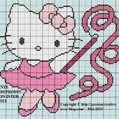 Grille gratuite point de croix : Hello Kitty danse - Le blog de Isabelle