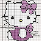 Grille gratuite point de croix : Hello Kitty assise - Le blog de Isabelle