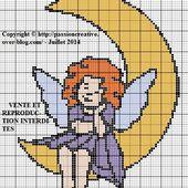 Grille gratuite point de croix : Ange et lune - Le blog de Isabelle