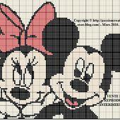 Grille gratuite point de croix : Mickey et Minnie complice - Le blog de Isabelle
