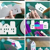 Dag 3: Ljushus av papper - Day 3: Tea light paper houses
