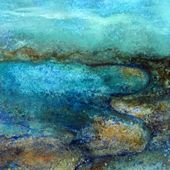"""Saatchi Art Artist: Marianne Charlotte Mylonas-Svikovsky&#x3B; Acrylic 2012 Painting """"Land and sea together, abstract atmosphere SOLD"""""""