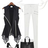 Woman Chiffon Vest Noir / Blanc Manteau sans manches Top Style Fashion