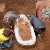 Pair of metal detector friends discover three quarters of a TON of Iron Age coins worth £10m buried in a field in Jersey after searching for 30 years
