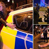 New Year revellers spill out of pubs after a night of drunken excess