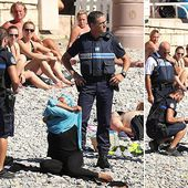 Armed police order Muslim woman to remove burkini on packed Nice beach