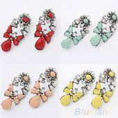 FASHION WOMENS JEWELRY SWEET RESIN DROPS CRYSTAL FLOWER EARRINGS STUDS GIFT B54K